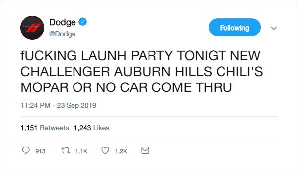 dodge tweet b.t